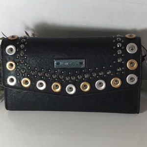 Nicole Lee(Nikki)  Studded Black Trifold Wallet